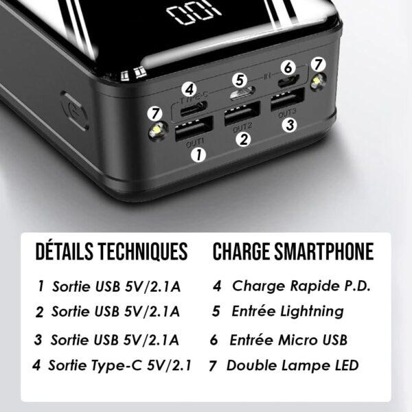 Batterie externe 50000mAh MengQI Ports USB