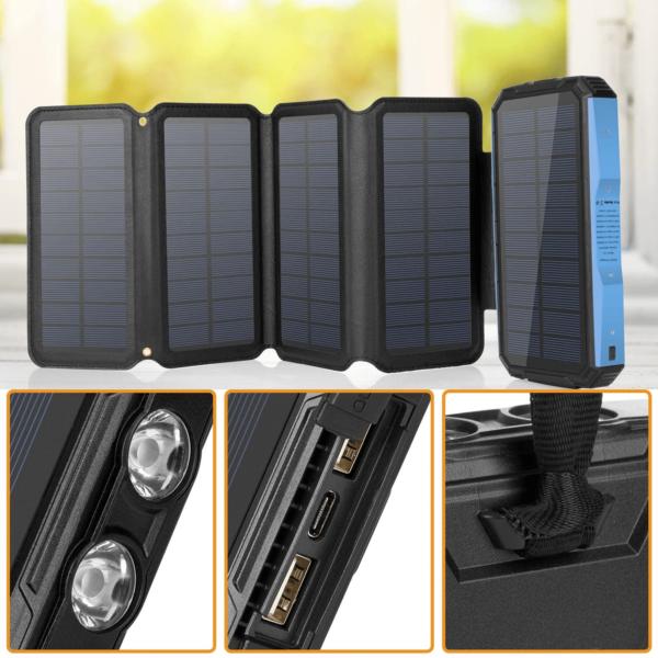 Batterie externe Solaire 5 panneaux caractéristiques ports USB