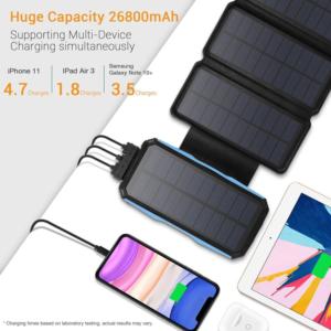 Batterie externe Solaire 5 panneaux grande capacité de 26800mAh