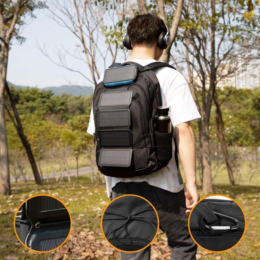 Batterie externe Solaire 5 panneaux sur un sac à dos
