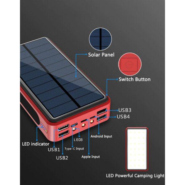 Batterie externe Solaire 50000mAh ports USB