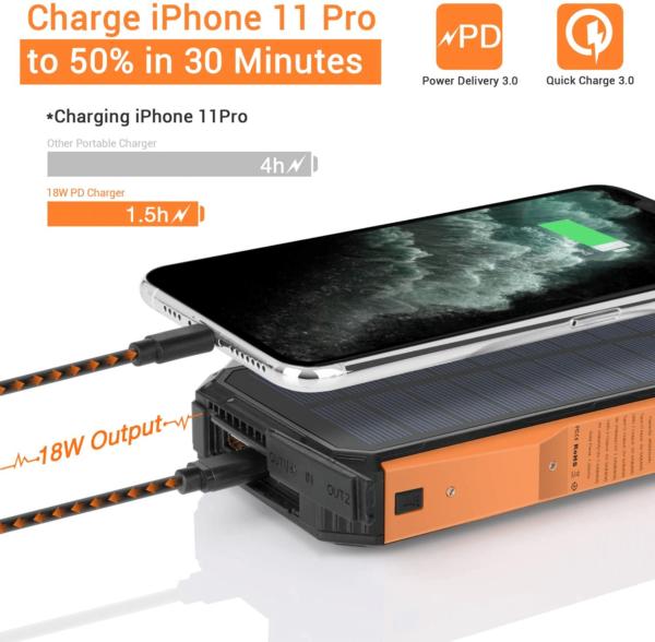 Batterie externe Solaire LEIK charge rapide