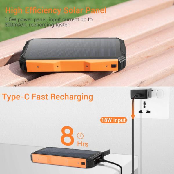 Batterie externe Solaire LEIK power bank