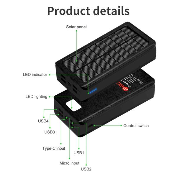 Batterie externe Solaire RLERON USB C Micro type