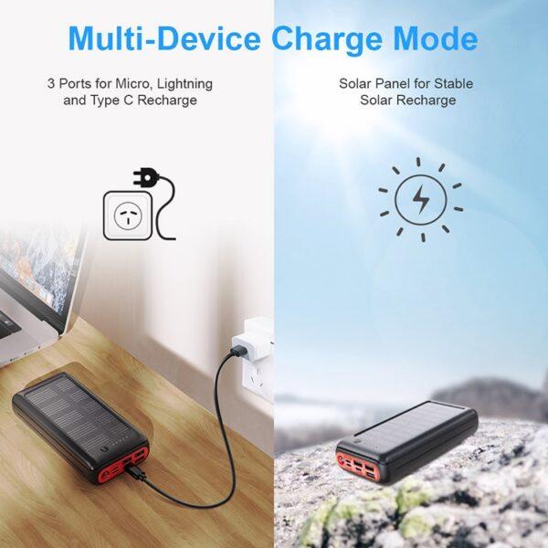 Batterie externe Solaire Randonnée charge au soleil