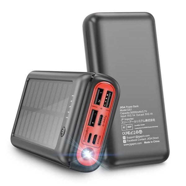 Batterie externe Solaire complète rouge et noir