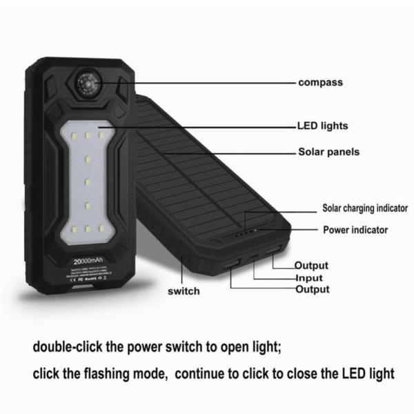 Batterie externe Solaire SunTech ports USB