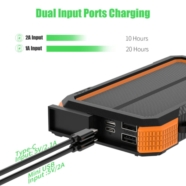 Batterie externe chargeur Solaire charge rapide