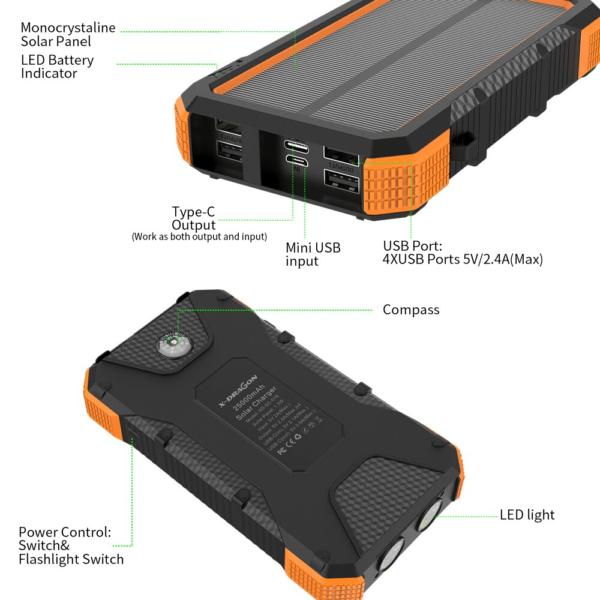 Batterie externe chargeur Solaire power bank