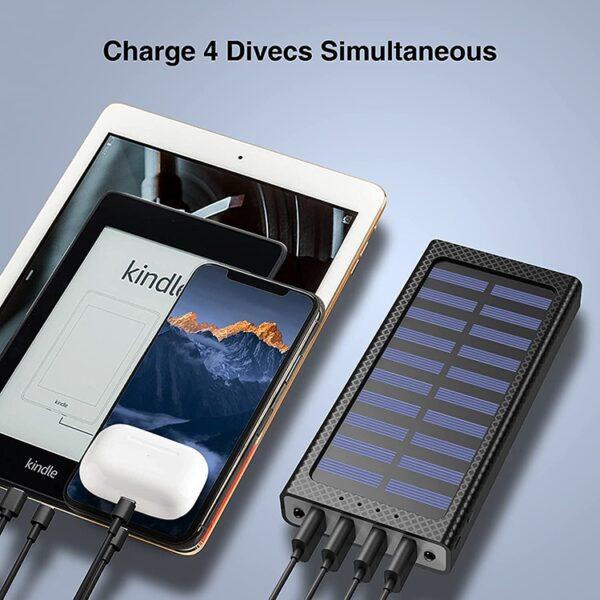 Batterie externe solaire Orange charge plusieurs en meme temps