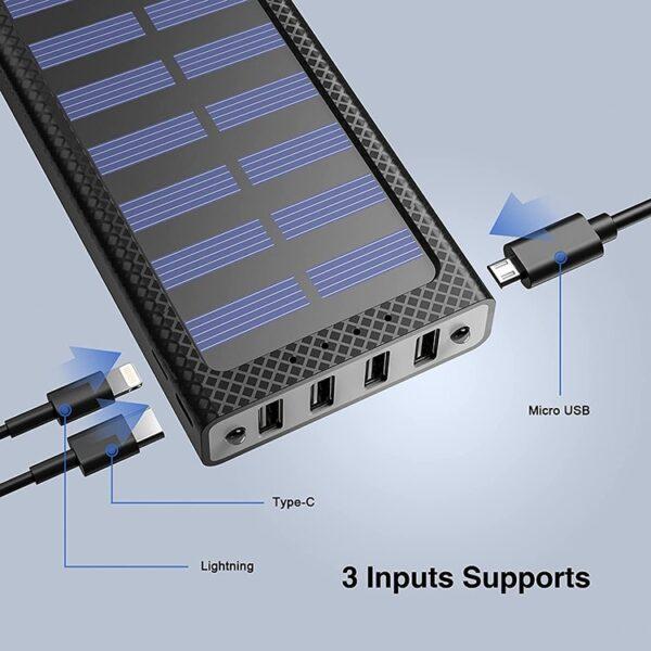 Batterie externe solaire Orange plusieurs ports USB