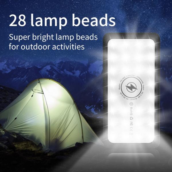 Batterie externe solaire Sans fil 28 LEDs pour éclairer