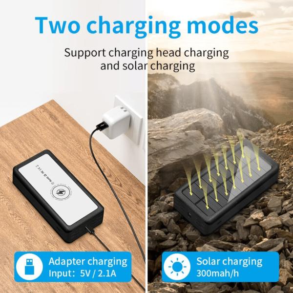 Batterie externe solaire Sans fil charge avec un panneau solaire intégré