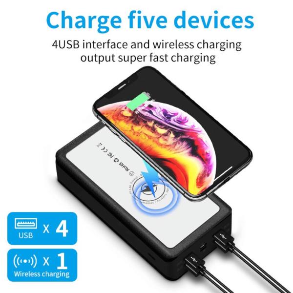 Batterie externe solaire Sans fil charge jusqu'à 5 appareils