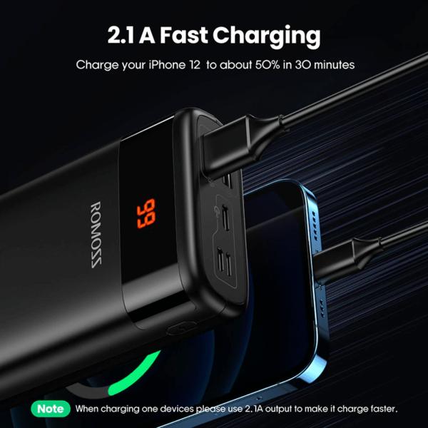 Batterie portable externe 20000mAh 2.1A charge rapide